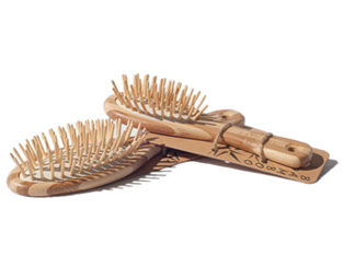 Twin Pack of Bamboo Hairbrushes (Large and Small)